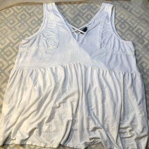 Torrid White Peplum Tank Top Deep V Plus Size